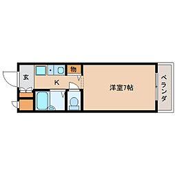 JR関西本線 三郷駅 徒歩3分の賃貸マンション 2階1Kの間取り