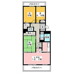 のむら貝塚ガーデンシティ七番館[13階]の間取り