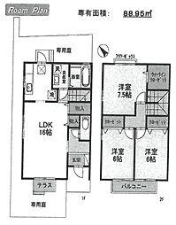 [テラスハウス] 兵庫県伊丹市中野東3丁目 の賃貸【/】の間取り