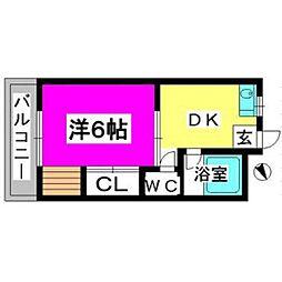 福岡県福岡市南区井尻2丁目の賃貸マンションの間取り