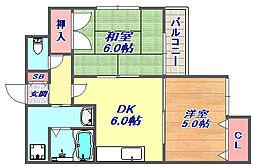 金栄ビル東館 4階2DKの間取り