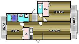 ヴィラ仲谷向陽台[2階]の間取り