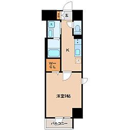 仙台市地下鉄東西線 宮城野通駅 徒歩9分の賃貸マンション 9階1Kの間取り