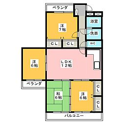 ユニーブルマンション第2一社[2階]の間取り