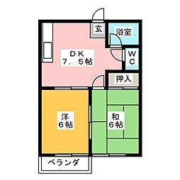 サンハイツ山田B[2階]の間取り