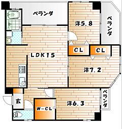 J5 stage1[4階]の間取り