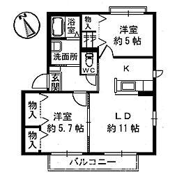 コンフォートヴィラIII棟[2階]の間取り