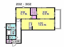 徳島県徳島市八万町下福万の賃貸マンションの間取り