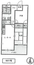 セレニティ武庫之荘[501号室]の間取り