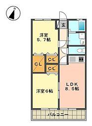 愛知県名古屋市名東区文教台1の賃貸アパートの間取り