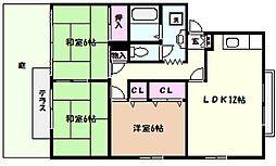 兵庫県芦屋市翠ケ丘町の賃貸アパートの間取り