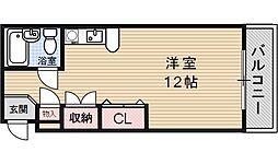 リバーハイツ山科[203号室号室]の間取り