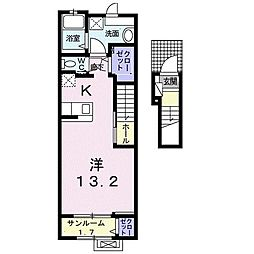 ピアチューレ 六本松 2階1Kの間取り