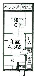 小川ハイツ[2号室]の間取り