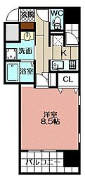 アースコートY`sシティ片野新町 9階1Kの間取り
