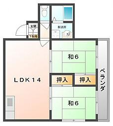 富士朝日町マンション[3階]の間取り