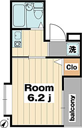 コンパートメント新浦安 2階1Kの間取り