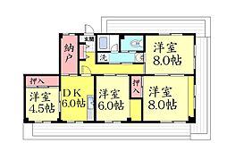 桑畑高徳マンション[4階]の間取り