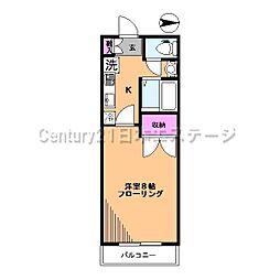 東京都品川区西中延2丁目の賃貸マンションの間取り