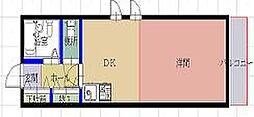 サンバティーク 5階1DKの間取り