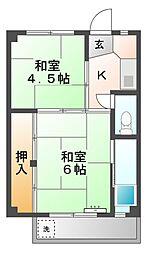 ビレッジハウス滝呂3号棟[1階]の間取り