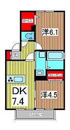 埼玉県戸田市早瀬2丁目の賃貸アパートの間取り