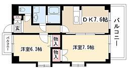 愛知県名古屋市昭和区長池町5丁目の賃貸マンションの間取り