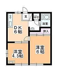 岡本キハイツA[205号室]の間取り