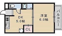 大阪府大阪市阿倍野区阿倍野筋4丁目の賃貸マンションの間取り