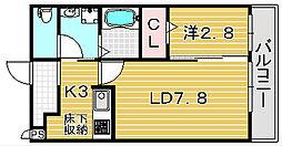 大阪府吹田市高浜町の賃貸アパートの間取り