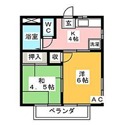 シャトレ六名 A棟[2階]の間取り
