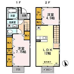 GARDEN HOUSE SHIMOAKAE A棟[101号室]の間取り