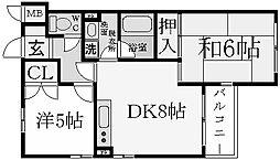 兵庫県西宮市川東町の賃貸マンションの間取り