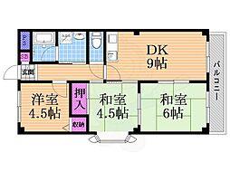 シルクハイム 2階3DKの間取り
