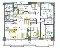 LDKは24.1帖の広々空間。南向き17.32平米のワイドバルコニーにつき陽当たり良好です。