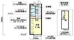 レオパレスクレール上野芝向ヶ丘[203号室]の間取り