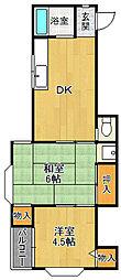 第二長楽荘[2号室]の間取り