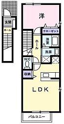 広島県福山市多治米町6の賃貸アパートの間取り