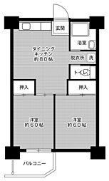 ビレッジハウス泉北栂タワー6階Fの間取り画像