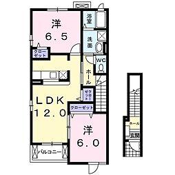 静岡県浜松市浜北区尾野の賃貸アパートの間取り