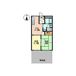 静岡県伊豆の国市寺家の賃貸アパートの間取り