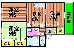 岡山県岡山市北区花尻あかね町丁目なしの賃貸アパートの間取り
