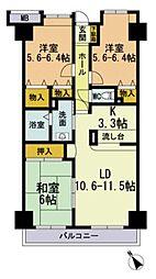 福岡県福岡市博多区美野島4丁目の賃貸マンションの間取り