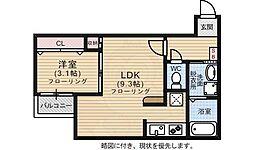 squarestyle3 2階1LDKの間取り
