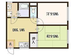 阪口ハイツ[202号室]の間取り
