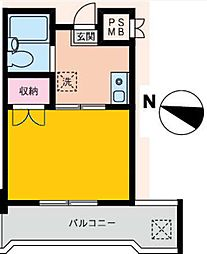 カーサベルデ[2B号室]の間取り