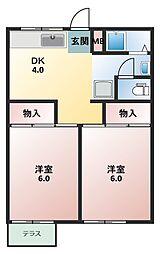 シルクハイツA・B[1階]の間取り