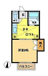 埼玉県さいたま市桜区南元宿1丁目の賃貸アパートの間取り