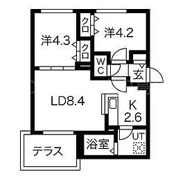 北海道札幌市豊平区美園七条8丁目の賃貸マンションの間取り