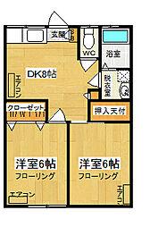 シャルム中村VI[2階]の間取り